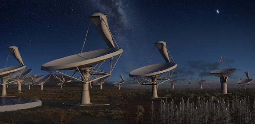 Artist's impression of the SKA, which will be made up of thousands of dishes that operate as one gigantic telescope