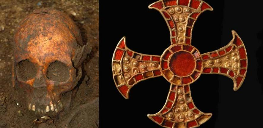 Anglo-Saxon bed burial with gold cross