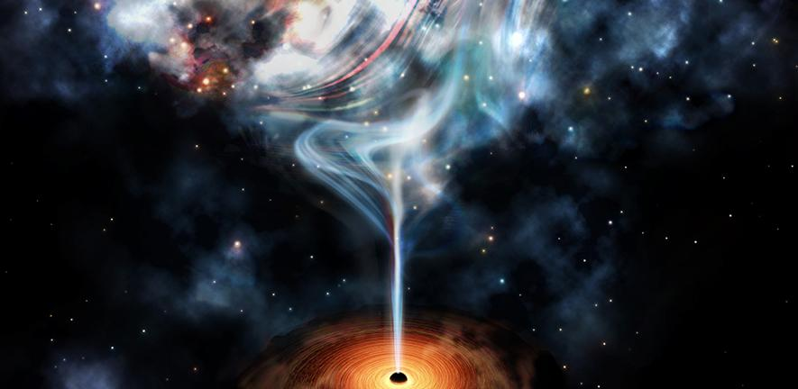An artist's impression of the jet launched by a supermassive black hole, which inflates lobes of very hot gas that are distorted by the cluster weather.
