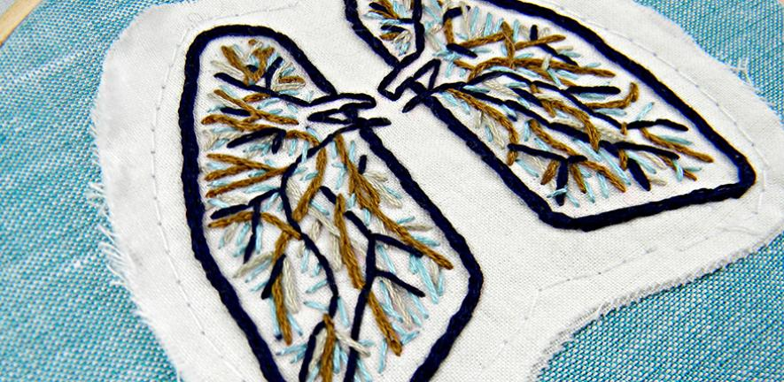 Blue and Brown Anatomical Lung Wall Decor