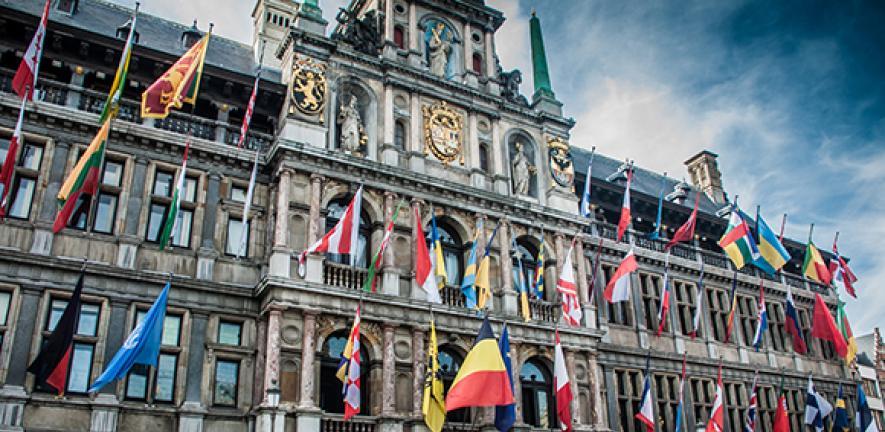 European flags outside EU in Belgium