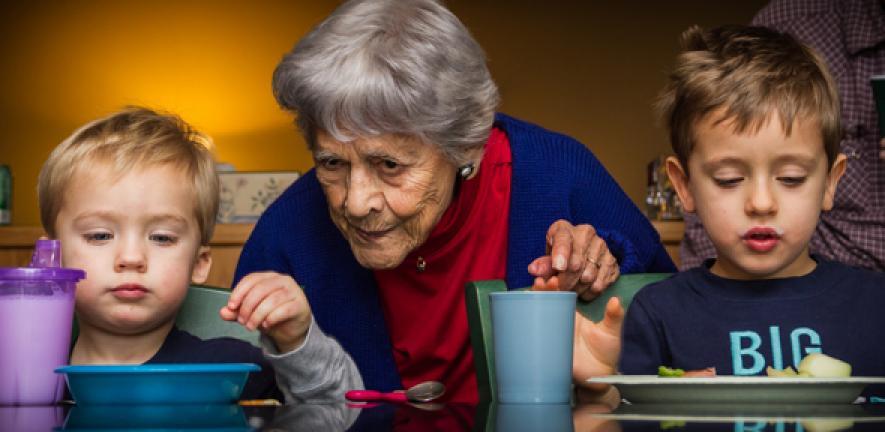 Grandmother and grandchildren