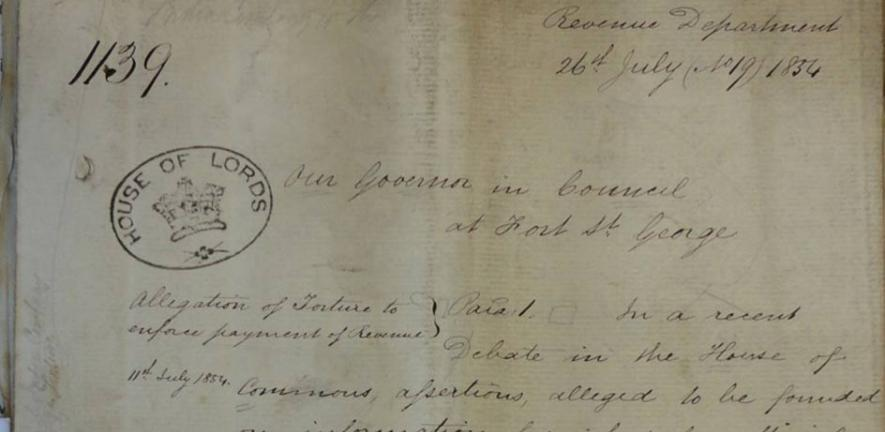 Letter from directors of the East India Company ordering an inquiry into the allegations of torture raised in a recent parliamentary debate.