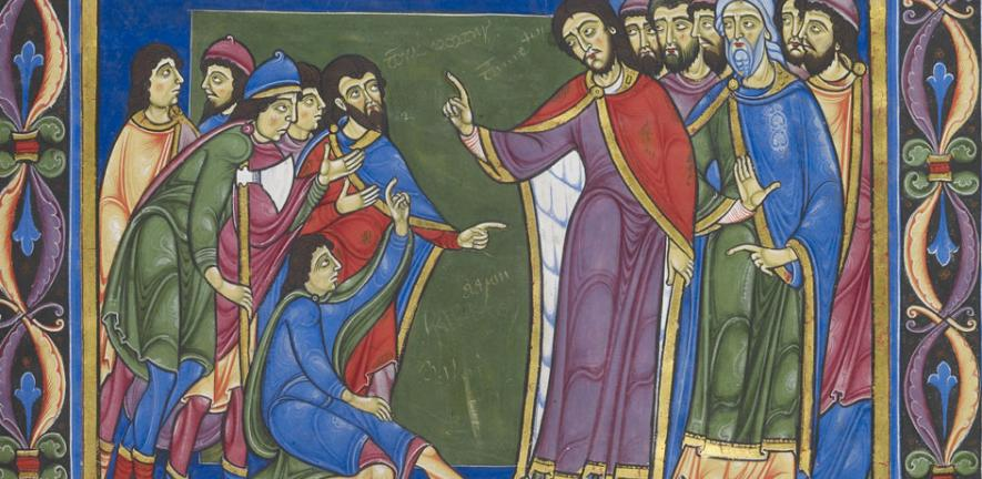 Frontispiece to the Book of Numbers. Moses and Aaron number the people of Israel, CCCC MS 2, f. 70r.