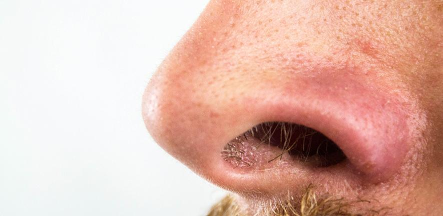 Close-up of someone's nose