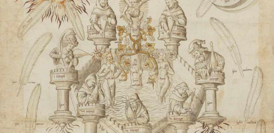 Detail from the Ripley Scroll housed at the Fitzwilliam Museum