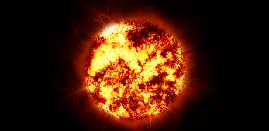 Bright red and yellow sun