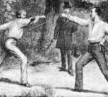 """""""The Code Of Honor—A Duel In The Bois De Boulogne, Near Paris"""", wood engraving by Godefroy Durand"""