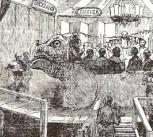 Woodcut of the famous (crowded) banquet in Benjamin Waterhouse Hawkins' standing Crystal Palace Iguanodon, New Year's Eve, 1853.