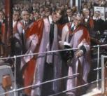 Terence Cuneo's painting of Prince Philip's tour of the Baker Building, Department of Engineering, University of Cambridge, which he opened in 1952. The proposed Regius Professorship will, in part, mark his long-standing links with the Department.
