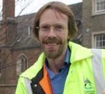 Allan Brigham at work outside Queen's College, Cambridge