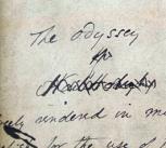 A manuscript of Samuel Butler's translation of the ancient Greek poem, the Odyssey (Butler/II/3/4).