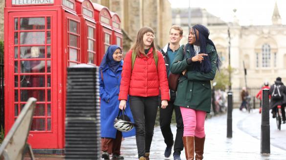 Students walking down a street
