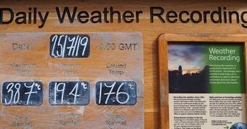Weather board at Cambridge University Botanic Garden showing data for 25 July 2019