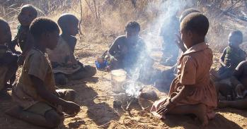 Hadza children engaged in cooking play