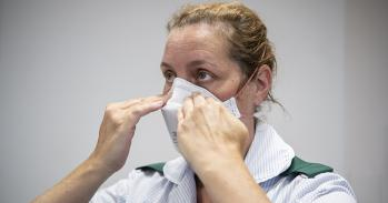 Healthcare worker wearing FFP3 mask