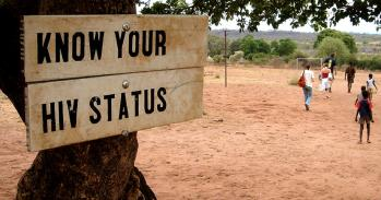Know your HIV status sign in Africa