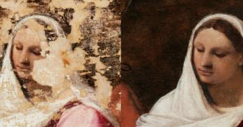 Before and after detail of the Virgin Mary from the 'Adoration of the Shepherds'