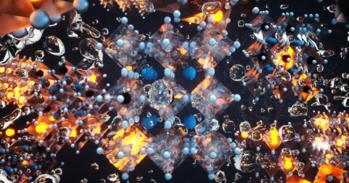 Artist's impression of glowing halide perovskite nanocrystals