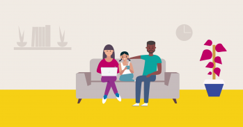 Graphic of family sitting on sofa