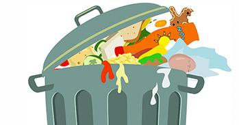 Rubbish bin containing food waste illustration
