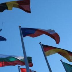 Flags of Europe at the European Parliament in Strasbourg