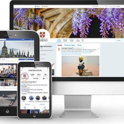 University social media profiles on different decives