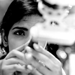 Woman looking at testube