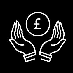 Hands with Sterling currency icon