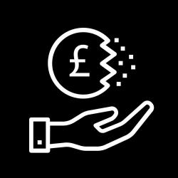 Hand with a disintegrating Sterling currency icon