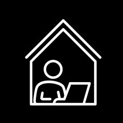 Person working at home icon