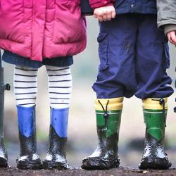 Children outdoors in muddy wellies