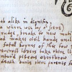 The prologue to Romeo and Juliet, transcribed on the last page of Titus Andronicus because it was omitted from the First Folio. Courtesy of the Free Library of Philadephia