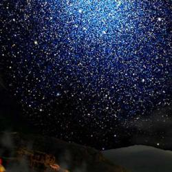 Artist's impression of a dwarf galaxy seen from the surface of a hypothetical exoplanet.