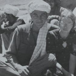 Poet Clare Holtham and Uzbek chieftain in Afghanistan, early 1970s