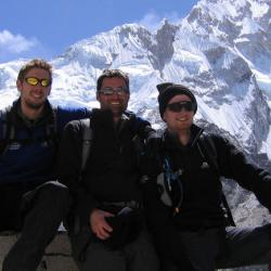 Dr Andrew Murray (far right) with his colleagues Dr Nick Knight and Dr Cameron Holloway on the approach to Everest Base-camp