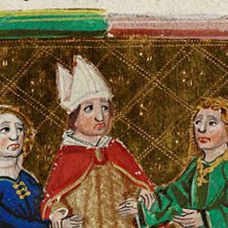 A miniature showing a bishop joining the hands of a couple, from the section of the Decretals of Pope Gregory IX concerning marriage, in a copy produced in Venice around 1475.