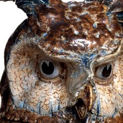 Owl Punch Bowl, 1903 (detail) Salt-glazed stoneware decorated with blue, brown and sage-green slips Height: 103 cm