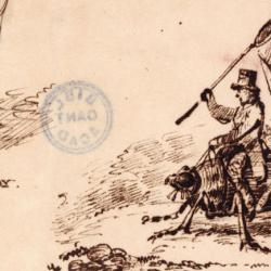 Caricature of Darwin riding on a beetle by Albert Way