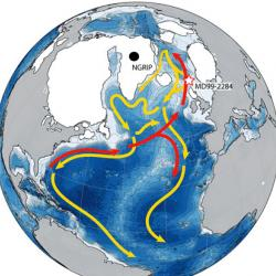 A simplified diagram of the Atlantic Meridional Overturning Circulation