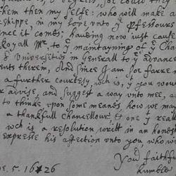 Duke of Buckingham's Letter to the University of Cambridge, 1626