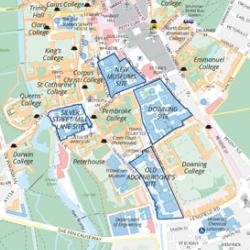 Map of the University's central Cambridge sites